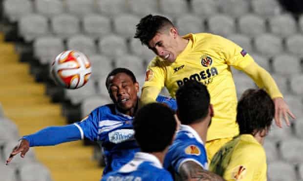 Villarreal's Gabriel Paulista leaps highest for the ball during an Europa League match