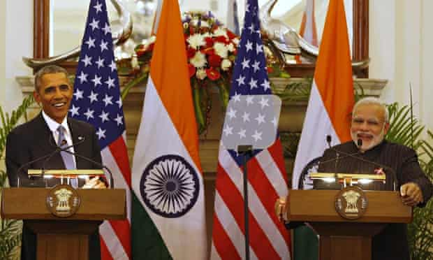 Barack Obama, Narendra Modi in India