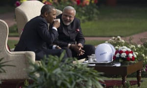 Obama and Modi have coffee and tea in the gardens of the Hyderabad House in Delhi, India.