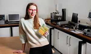 Designer Solveiga Pakstaite, who has developed a bio-reactive food expiry label called Bump Mark.