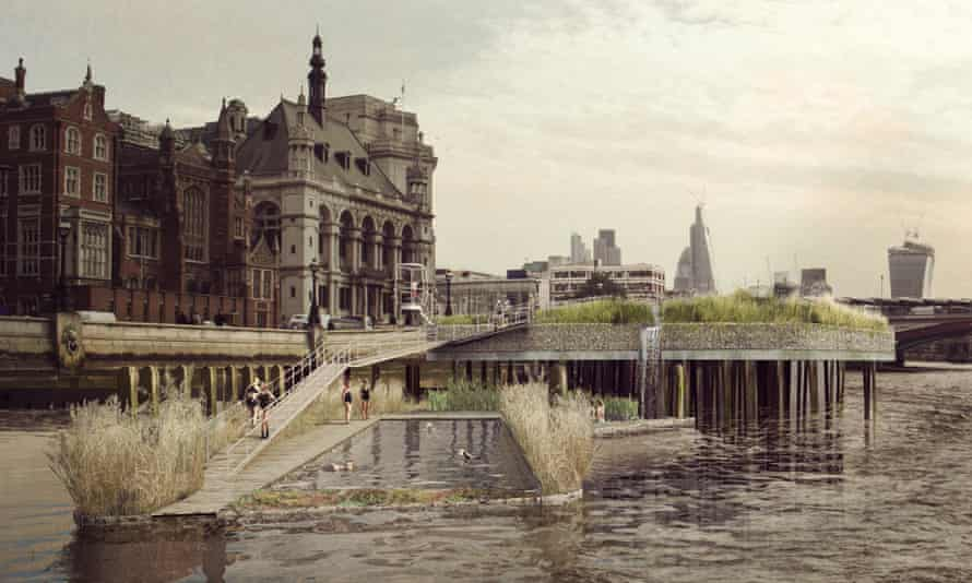 Artist's impression of the Thames Baths project from Chris at Studio Octopi.
