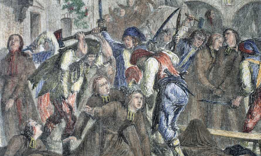 Causes of the bloody clashes of the French Revolution as depicted in this engraving of 1900, fascinated Gwynne Lewis.