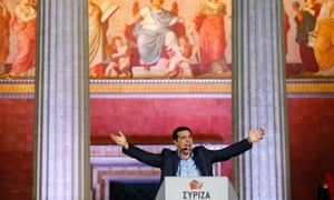 Head of radical leftist Syriza party Alexis Tsipras speaks after winning the elections in Athens January 25, 2015. Tsipras hailed the projected victory of his anti-austerity Syriza party in Sunday's snap election as a defeat for austerity and the EU/IMF bailout programme keeping the country afloat.