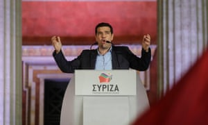 Syriza leader Alexis Tsipras addresses supporters after winning the Greek election.
