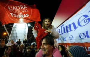 Syriza party supporters revel in their party's successes as the positive exit poll figures continue to roll in.