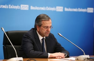 The dawning realisation of defeat: outgoing Greek prime minister Antonis Samaras seems deflated after an updated exit poll result.