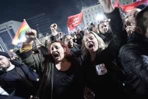 Syriza's supporters take their celebrations to the streets, as leader Alexis Tsipras speaks after the party's election win.