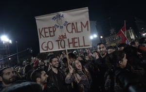 A very clear anti-austerity message for the IMF, ECB and EU from Syriza supporters.
