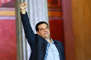 Triumph: Alexis Tsipras raises his fist to supporters after in satisfaction of winning the election.