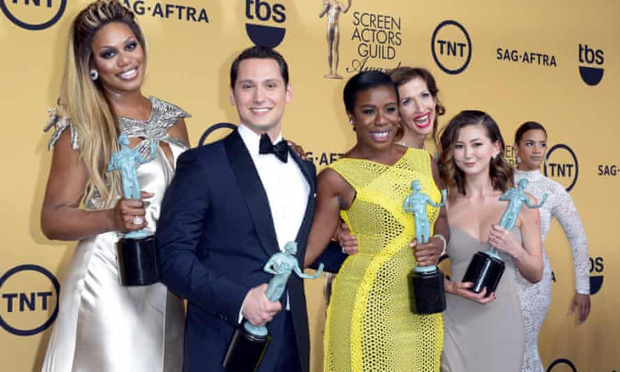 The cast of Orange is the New Black with their award.