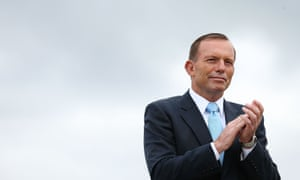 Tony Abbott at an Australian flag raising and citizenship ceremony in Canberra.