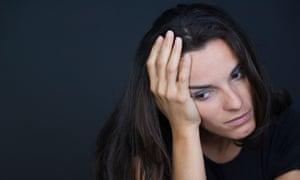 depressed brunette woman