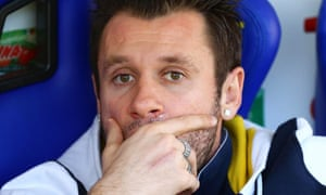 Parma's Antonio Cassano sits on the bench before the Serie A defeat to Cesena.