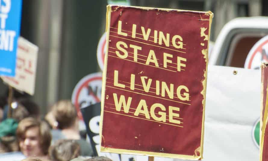 Living wage placard