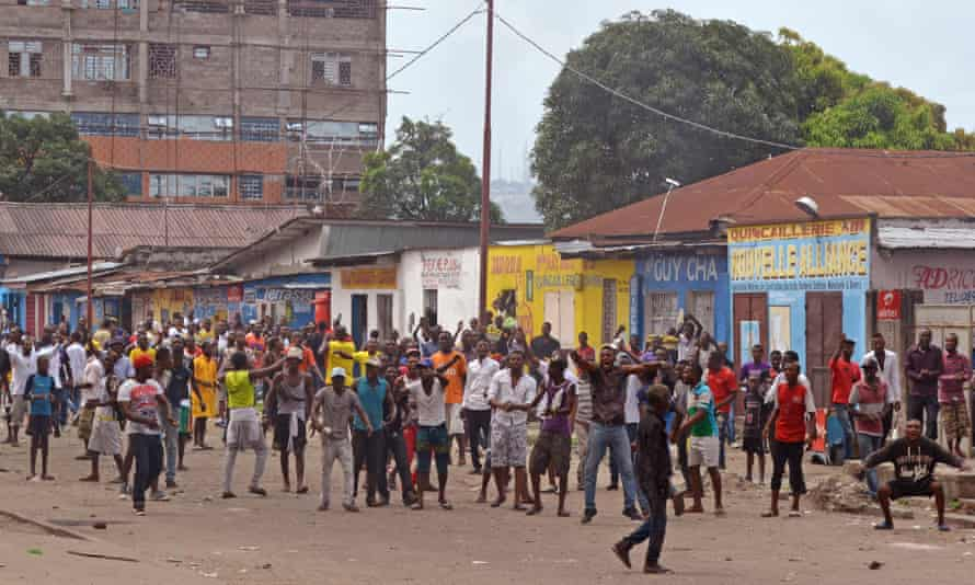 Anti-government protesters in Kinshasa