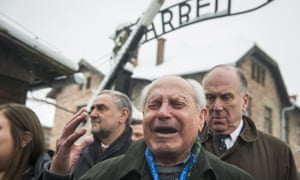 Mordechai Ronen is overcome with emotion as he arrives at Auschwitz.