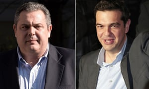 Panos Kammenos (left) and Alexis Tsipras, whose parties will form the new government in Greece.