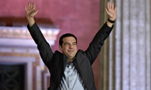 Syriza leader Alexis Tsipras greets supporters following his party's victory
