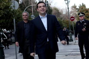 Syriza leader Alexis Tsipras arriving at the Presidential Palace for his civil oath as Greek Prime Minister in Athens.