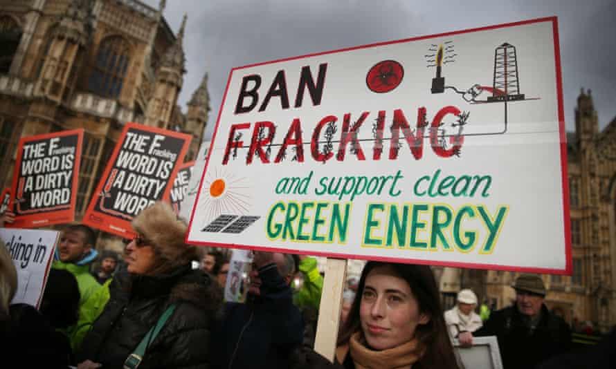 Anti-fracking protestors gather near parliament on 26 January 2015.