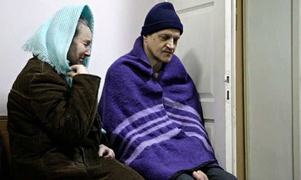 Patients at a hospital in Donetsk, eastern Ukraine, on Monday.
