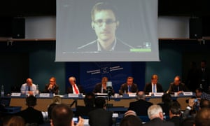 Edward Snowden speaks to the Parliamentary Assembly of the Council of Europe during a hearing on mass surveillance