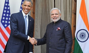 India's prime minister Modi sports his bespoke suit as he meets Obama