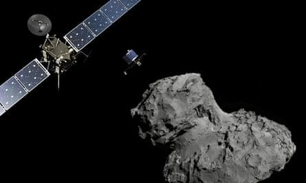 Rosetta probe and Philae lander beside the 67P comet