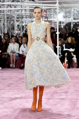 A model walks the runway during the Christian Dior haute couture show in Paris displaying the collection by Raf Simons.