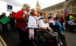 Disabled people protest against cuts in benefits