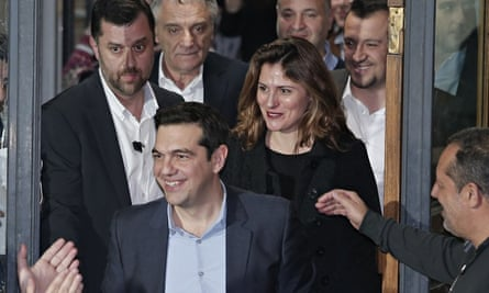Peristera 'Betty' Batziana following her partner Alexis Tsipras, Greece's new prime minister.