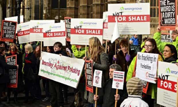 Anti-fracking demonstrators at Parliament