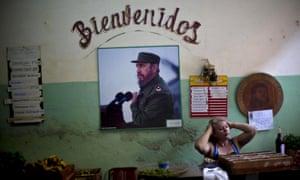 A portrait of Fidel Castro on display in Havana, Cuba.
