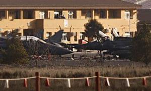 Wrecked planes in the aftermath of the crash of a  Greek F-16  into five parked planes at airbase