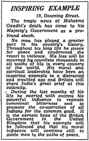 Statement from 10 Downing Street on assassination of Mahatma Gandhi, Manchester Guardian 31 January 1948