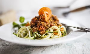 Spaghetti made from courgettes with bolognaise sauce.