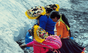 Quollur Ri'i at the Cusco glacier inPeru, a traditional annual ceremony which gathers some 50,000 pilgrims around the glaciers for religious reflection.