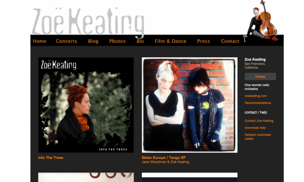 Zoe Keating is one of the musicians using Bandcamp.