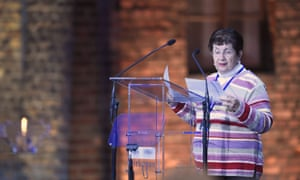 Polish born Holocaust survivor Halina Birenbaum delivers a speech during the main ceremony to mark the 70th anniversary of the liberation of the Auschwitz death camp.