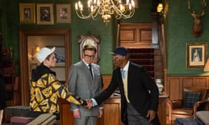 Taron Egerton, Colin Firth, and Samuel L Jackson in Kingsman: The Secret Service.