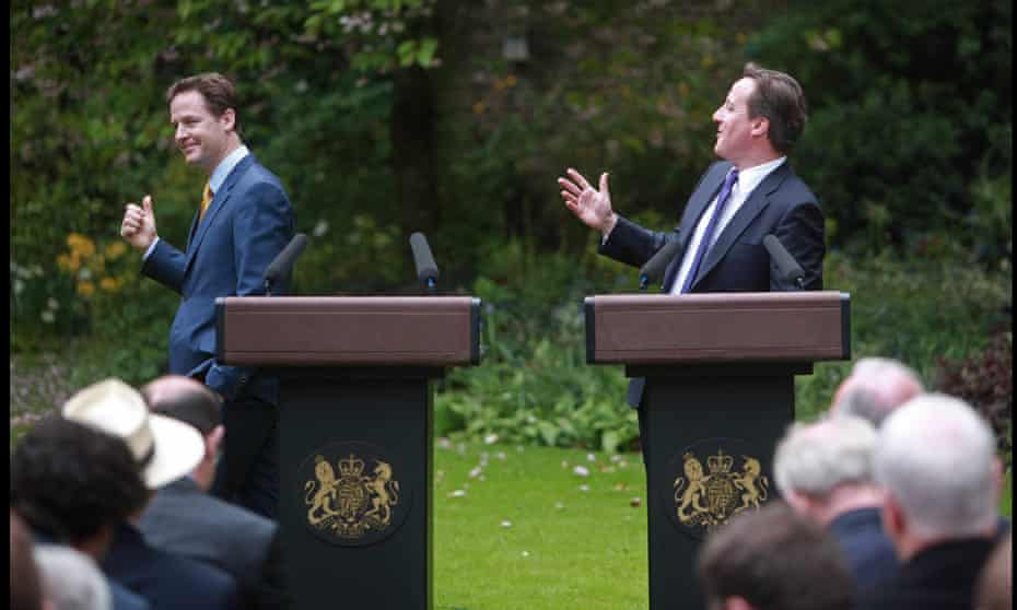 Nick Clegg and David Cameron announce the formation of the coalition government