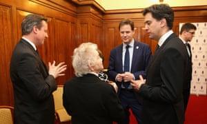 David Cameron, Nick Clegg and Ed Miliband speak to Holocaust survivors.