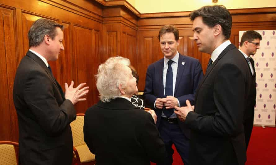 David Cameron, Nick Clegg and Ed Miliband speak to Holocaust survivors.