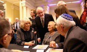 The Duchess of Cornwall meets Holocaust survivors at the service in London.