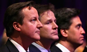 Left to right, David Cameron, Nick Clegg and Ed Miliband attend the ceremony on Tuesday.