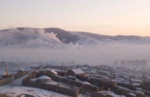Pollution hangs over Ulaanbaator in Mongolia, where many residents burn wood and coal to keep warm.