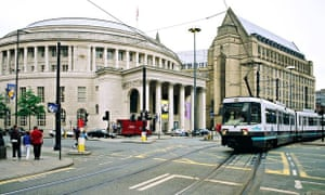 The Central Library and Theatre, left, and Manchester Town Hall extension in St. Peter's Square.