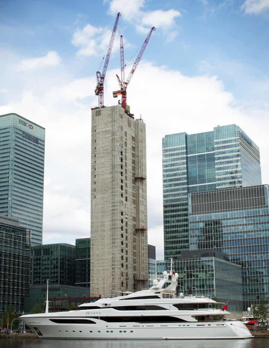 A luxury yacht is moored in the London docklands on day one of the London 2012 Olympic Games.
