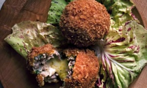 chicken croquettes stuffed with comte
