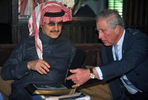 Britain's Prince Charles with Saudi prince al-Waleed bin Talal in 2014 in the Saudi capital, Riyadh.